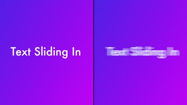 image showing examples of sliding text with motion blur and without motion blur