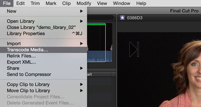 Transcode Media in Final Cut Pro X