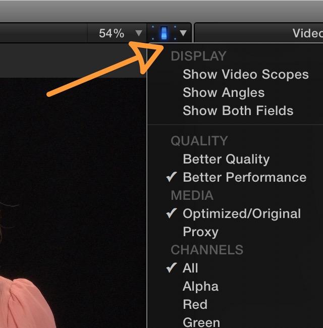 Final Cut Pro X Viewer Options Pop Up Menu