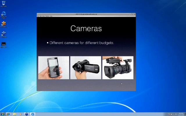 Slide showing three different cameras