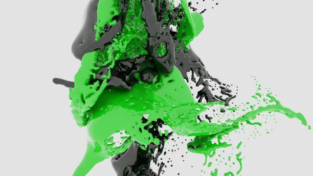 Green Black Paint Splash